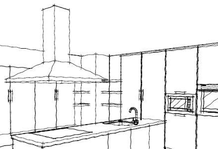 Impresión a mano alzada del diseño de la cocina